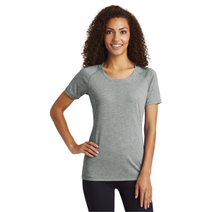 Sport-Tek® Ladies PosiCharge® Tri-Blend Wicking Scoop Neck Raglan Tee